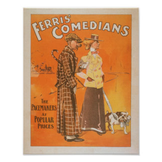 """Ferris Comedians """"Pacemakers at Popular Prices"""" Poster"""