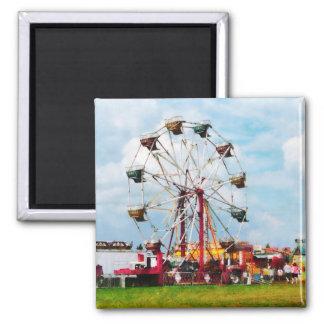 Ferris Wheel Against Blue Sky 2 Inch Square Magnet
