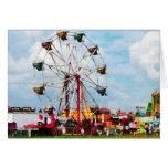 Ferris Wheel Against Blue Sky Greeting Cards