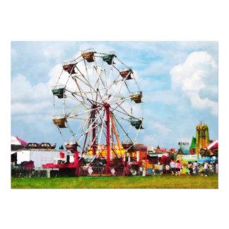 Ferris Wheel Against Blue Sky Custom Invites