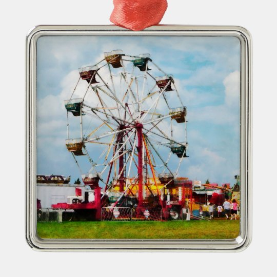 Ferris Wheel Against Blue Sky Metal Ornament