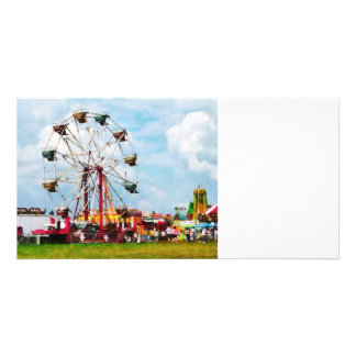 Ferris Wheel Against Blue Sky Photo Card