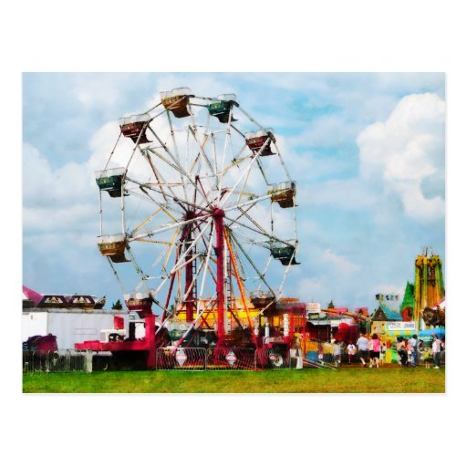 Ferris Wheel Against Blue Sky Post Cards