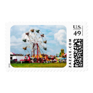 Ferris Wheel Against Blue Sky Postage