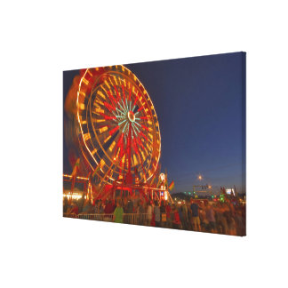 Ferris wheel at dusk at the Northwest Montana Stretched Canvas Print