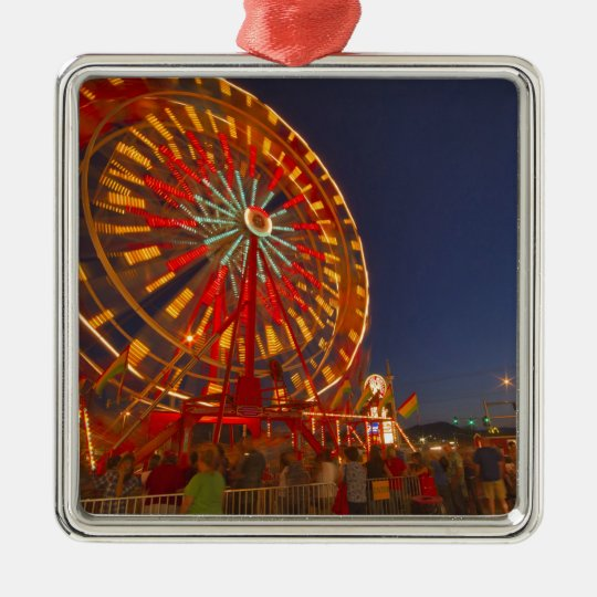 Ferris wheel at dusk at the Northwest Montana Metal Ornament