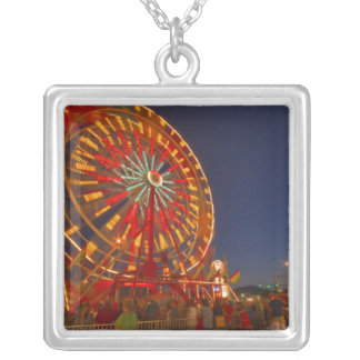 Ferris wheel at dusk at the Northwest Montana Square Pendant Necklace