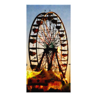 Ferris Wheel at Night Personalized Photo Card
