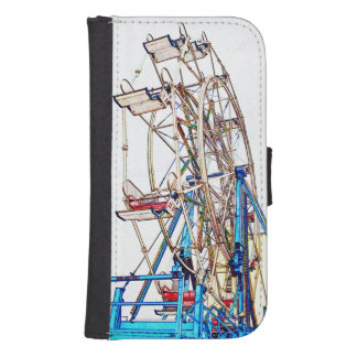Ferris Wheel-Chalk Outline by Shirley Taylor Galaxy S4 Wallet Case