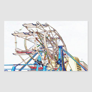 Ferris Wheel-Chalk Outline by Shirley Taylor Rectangular Sticker