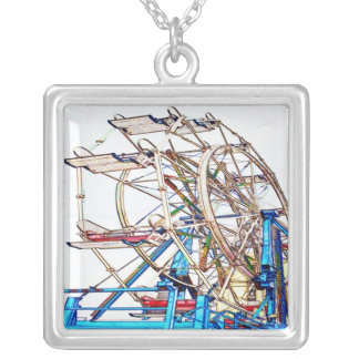 Ferris Wheel-Chalk Outline by Shirley Taylor Silver Plated Necklace