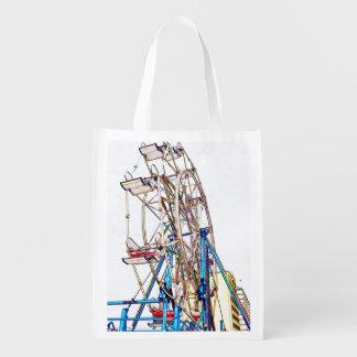 Ferris Wheel-Chalk Outline Reusable Grocery Bags
