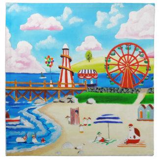 Ferris wheel folk art beach scene painting cloth napkin