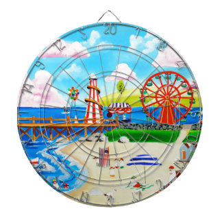 Ferris wheel folk art beach scene painting dart boards