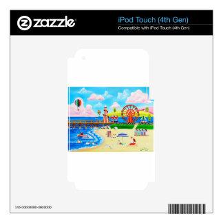 Ferris wheel folk art beach scene painting decal for iPod touch 4G