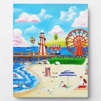 Ferris wheel folk art beach scene painting plaque