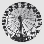 Ferris Wheel in Black and White Photo Gifts Round Sticker