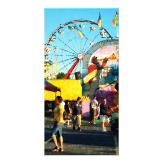 Ferris Wheel in Distance Personalized Photo Card