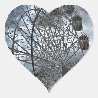 Ferris Wheel in the Clouds Heart Sticker