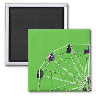 Ferris Wheel on Green 2 Inch Square Magnet