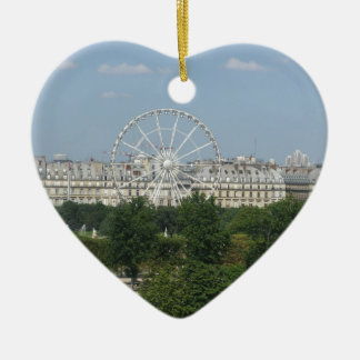 Ferris Wheel Double-Sided Heart Ceramic Christmas Ornament