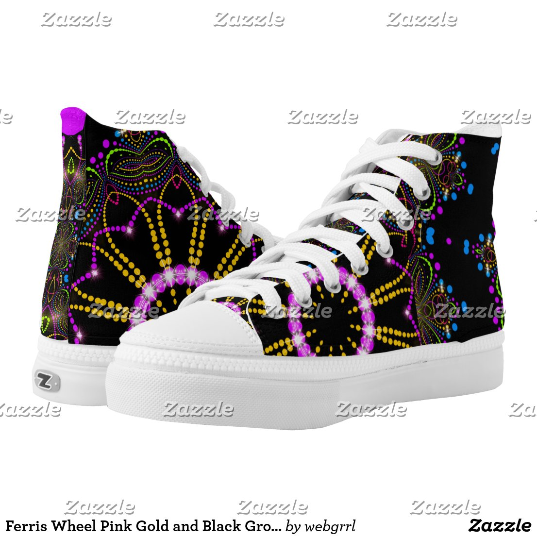 Ferris Wheel Pink Gold and Black Groovy Mandala High-Top Sneakers by webgrrl