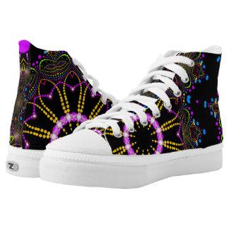 Ferris Wheel Pink Gold and Black Groovy Mandala High-Top Sneakers