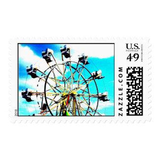Ferris Wheel Ride Blue Sky Postage Stamp