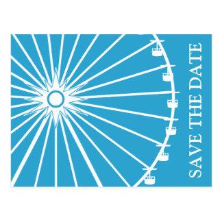 Ferris Wheel Save The Date Postcards Blue