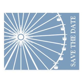 Ferris Wheel Save The Date Postcards Blue Gray