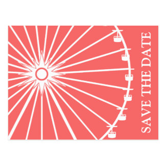 Ferris Wheel Save The Date Postcards Coral