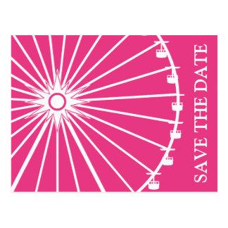 Ferris Wheel Save The Date Postcards Dark Pink