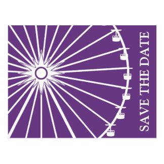 Ferris Wheel Save The Date Postcards Dark Purple