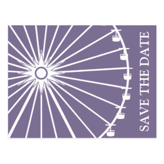 Ferris Wheel Save The Date Postcards Eggplant
