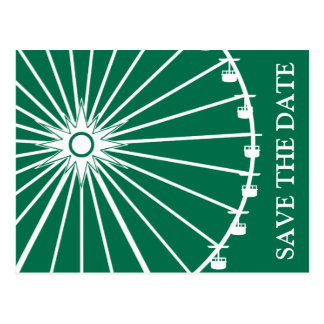 Ferris Wheel Save The Date Postcards (Green)