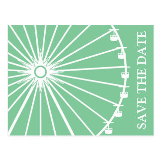 Ferris Wheel Save The Date Postcards Mint Green