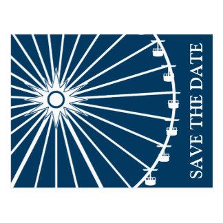 Ferris Wheel Save The Date Postcards Navy Blue