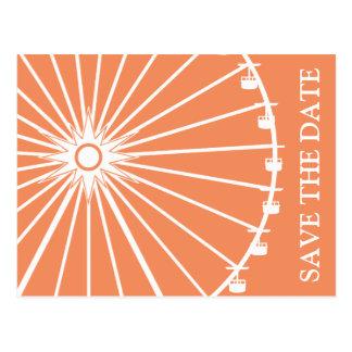 Ferris Wheel Save The Date Postcards Orange