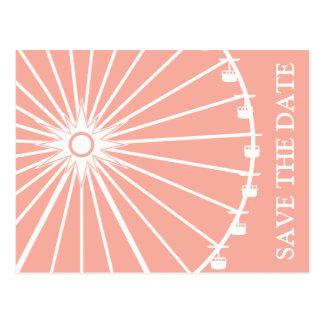 Ferris Wheel Save The Date Postcards Peach