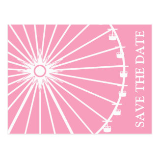 Ferris Wheel Save The Date Postcards Pink
