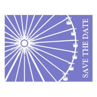 Ferris Wheel Save The Date Postcards Plum Purple