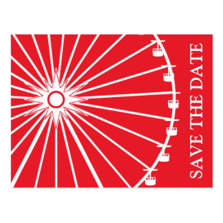 Ferris Wheel Save The Date Postcards (Red)
