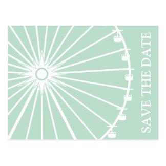 Ferris Wheel Save The Date Postcards Sage Green