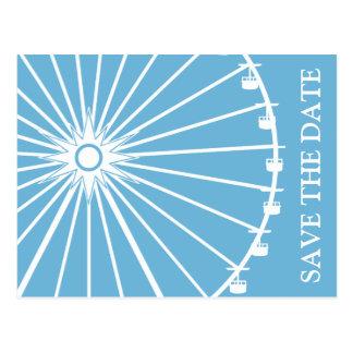 Ferris Wheel Save The Date Postcards Sky Blue