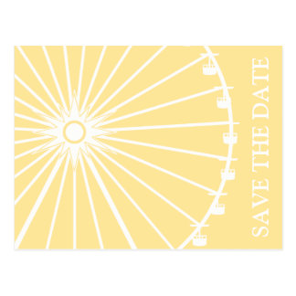 Ferris Wheel Save The Date Postcards Yellow
