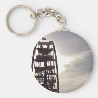 Ferris Wheel Silhouette Basic Round Button Keychain