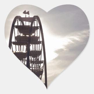 Ferris Wheel Silhouette Heart Sticker