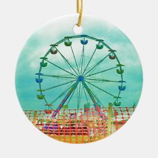 Ferris Wheel Spring Fest Misquamicut Beach Double-Sided Ceramic Round Christmas Ornament