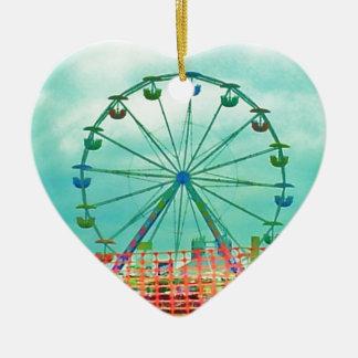Ferris Wheel Spring Fest Misquamicut Beach Double-Sided Heart Ceramic Christmas Ornament