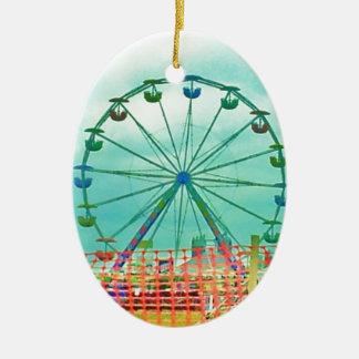 Ferris Wheel Spring Fest Misquamicut Beach Double-Sided Oval Ceramic Christmas Ornament